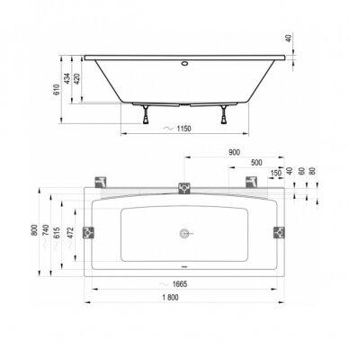 Akrilinė vonia Ravak Formy 02 - 180 cm 3