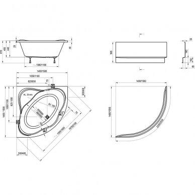 Akrilinė vonia Ravak NewDay 140, 150 cm 4