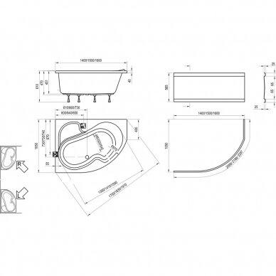 Akriline vonia Ravak Rosa I 140, 150, 160 cm 3