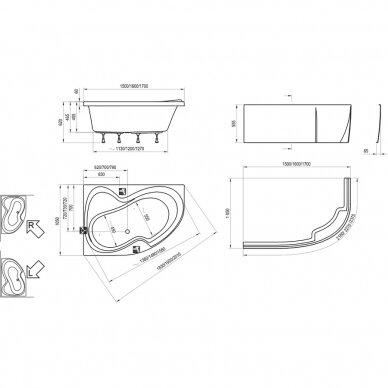 Akrilinė vonia Ravak Rosa II 150, 160, 170 cm 7