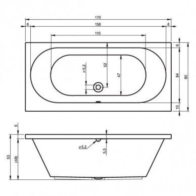 Akrilinė vonia Riho Carolina 170, 180, 190 3