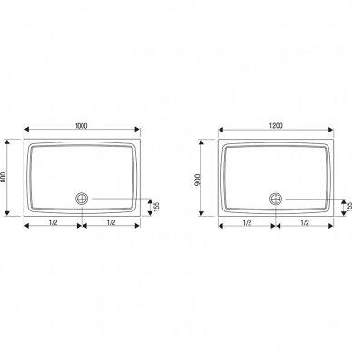 Akrilinis dušo padėklas Ravak Gigant 100x80, 120x90 cm 3