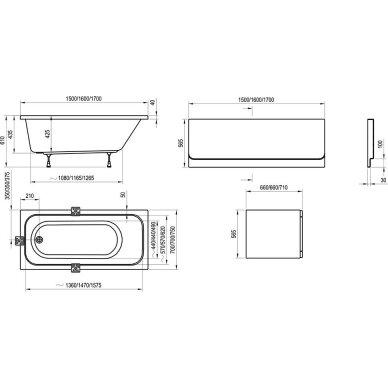 Akrilo vonia Ravak Chrome arba Chrome slim 150, 160, 170 cm 12