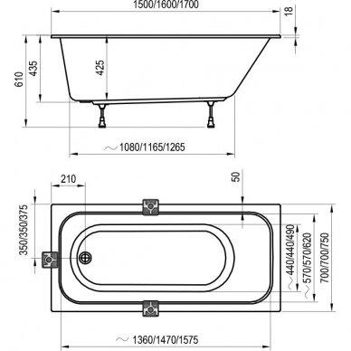 Akrilo vonia Ravak Chrome arba Chrome slim 150, 160, 170 cm 13