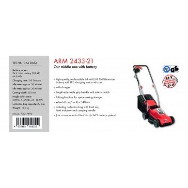 Akumuliatorinė vejapjovė 24V Grizzly ARM 2433-21 Set 2