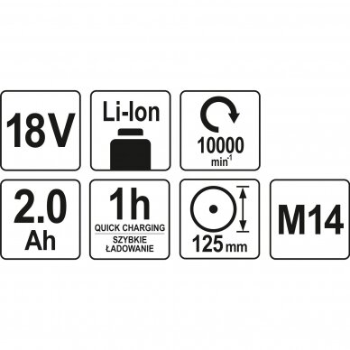 Akumuliatorinis kampinis šlifuoklis Yato YT-82826, 18V, 2,0AH 4