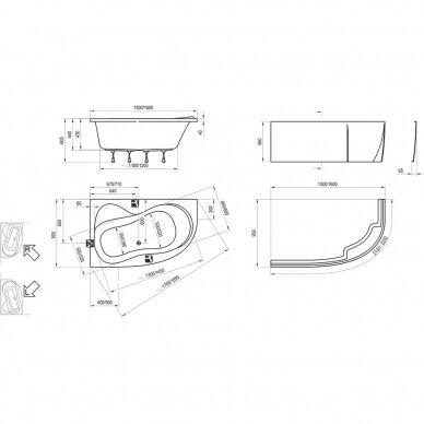 Asimetrinė akrilinė vonia Ravak Rosa 95 - 150, 160 cm 3