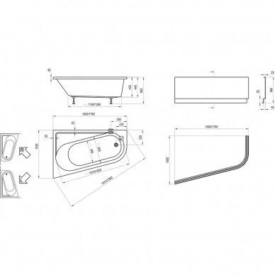 Asimetrinė vonia Ravak Chrome 160, 170 cm 4