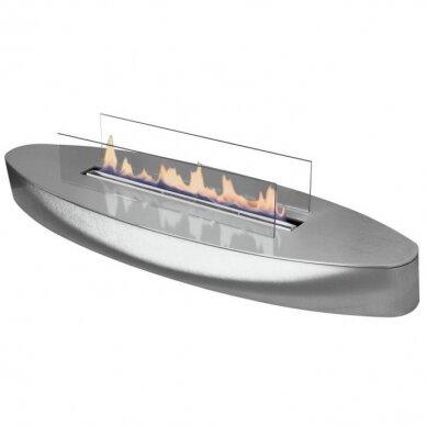 Bio židinys Ebios-fire Elipse Base Mini, chromas, 16 m2, 1,6 kW