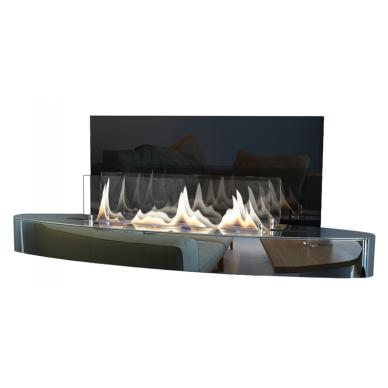 Bio židinys Ebios-fire Elipse Wall, chromas, 34 m2, 3,4 kW