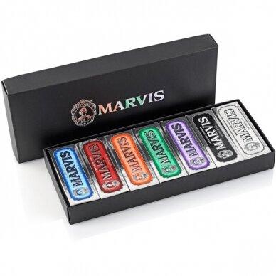 Dantų pastų rinkinys dėžutėje Marvis Black Box Set, 7*25 ml