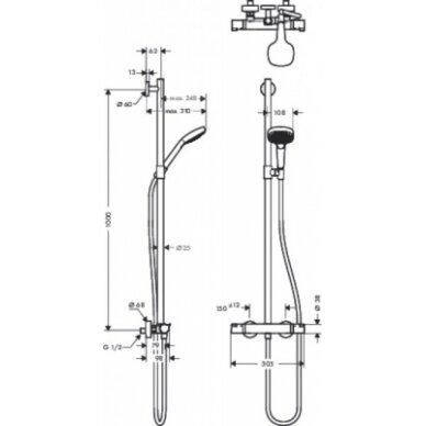 Dušo sistema su termostatiniu maišytuvu Hansgrohe Chroma Select E 3