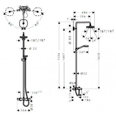 Dušo sistema su termostatiniu maišytuvu Hansgrohe Croma Select E180 2jet 5