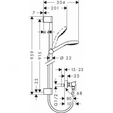 Dušo komplektas Hansgrohe Croma Select S vario Combi 2
