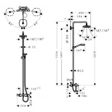 Dušo vonios sistema su termostatu Hansgrohe Croma Select S180 2jet 5