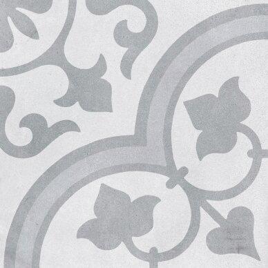 Akmens masės plytelės CUBAN WHITE ORNATE 22,3x22,3 cm 3
