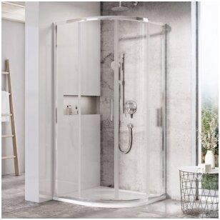 Mažoms erdvėms - pusapvalė dušo kabina