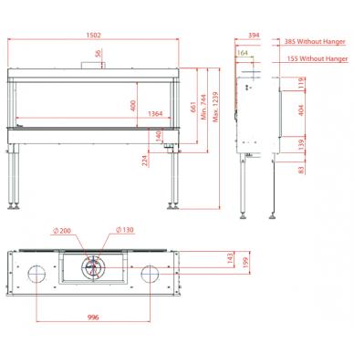 Dujinis židinys MERCURY XL, tiesiu stiklu (1364x400), LPG, 12 kW 3