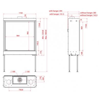 Dujinis židinys SQ 100, kvadratiniu tiesiu stiklu, 964x965cm, nesatsispindintis stiklas, 9,3 kW 3