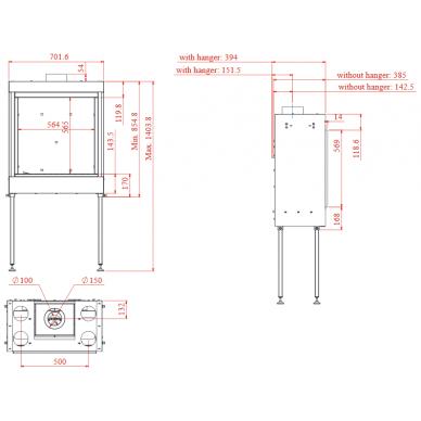 Dujinis židinys SQ 60, kvadratiniu tiesiu stiklu, 564x565cm, 13 kW 3
