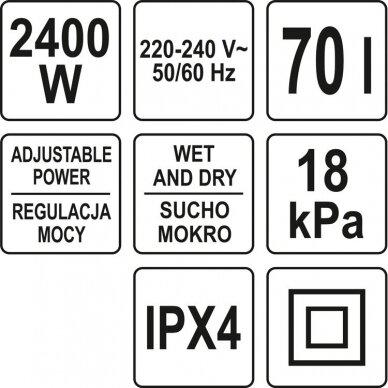 Dulkių siurblys pramoninis Yato, drėgna ir sausa funkcija, 2400W, 70 l (YT-85710) 4