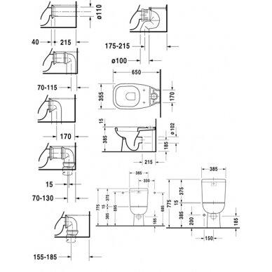 Duravit D-Code wc puodas 65cm su univer. nuotaku ir su bakeliu 2