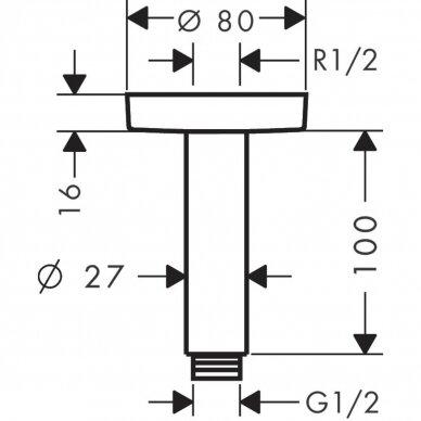 Dušo alkūnė Hansgrohe montuojama į lubas S 10 cm 3
