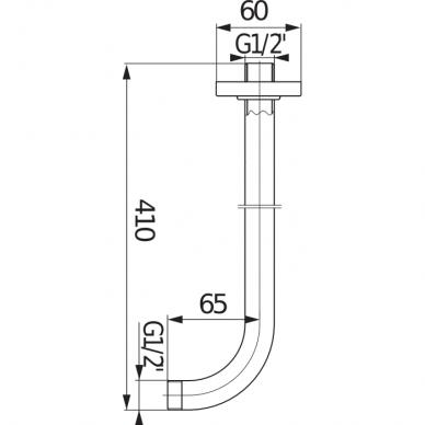 Dušo alkūnė montuojama į sieną Jika Cubito 40, 50 cm 2