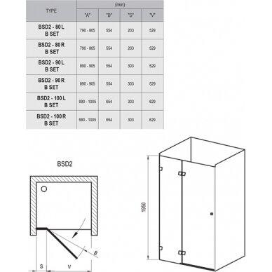 Dušo durys Ravak Brilliant BSD2 80, 90, 100 cm 8