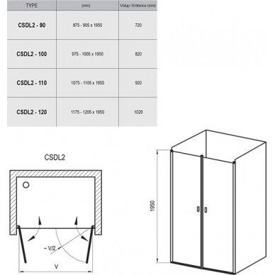 Dušo durys Ravak Chrome CSDL2 90, 100, 110, 120 cm 3