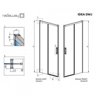 Dušo durys į nišą Radaway Idea Black DWJ 100, 110, 120, 130, 140, 150, 160 cm 7