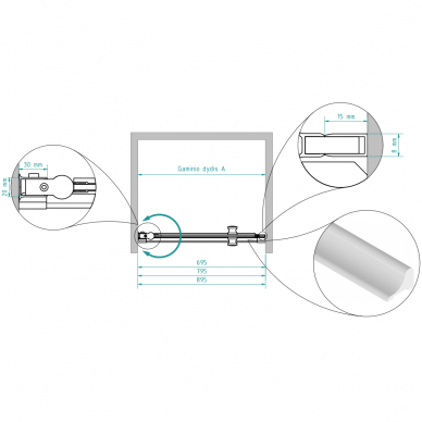 Dušo durys nišoms Brasta Glass Greta 70, 80, 90 cm 3