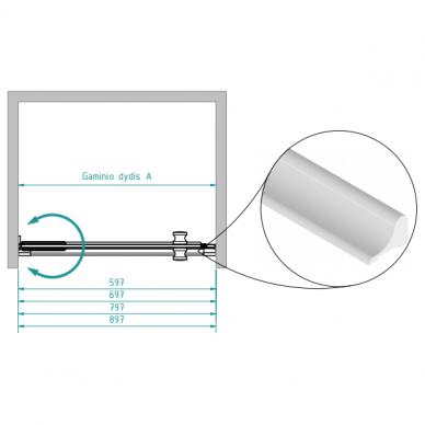 Dušo durys nišoms Brasta Glass Ieva 60, 70, 80 cm 3