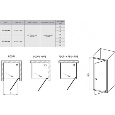 Dušo durys Ravak Pivot PDOP1 80, 90 cm 6