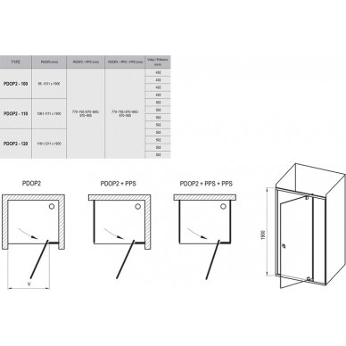 Dušo durys Ravak Pivot PDOP2 100, 110, 120 cm 5