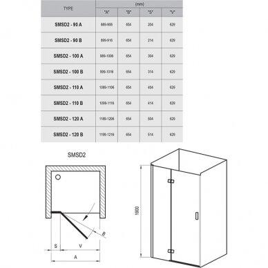 Dušo durys Ravak SmartLine SMSD2 90, 100, 110, 120 cm 6