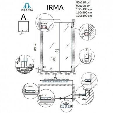 Dušo durys su sienele Brasta Glass Irma 80, 90, 100, 110, 120 cm 6