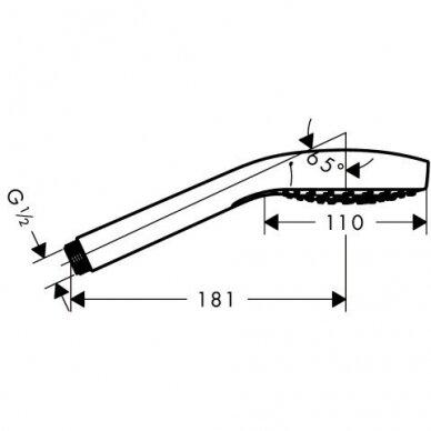 Dušo galva Hansgrohe CROMA SELECT S 3jet, Vario Ecosmart, balta/chromas 2
