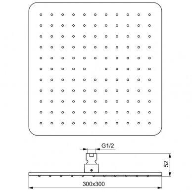 Dušo galva Ideal Standard Idealrain Cube kvadratinė 3