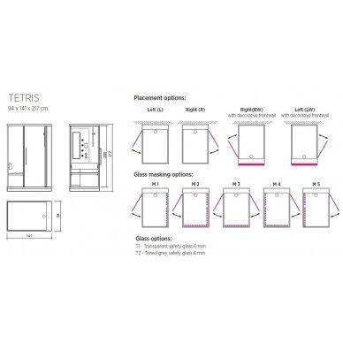 Dušo – garo kabina Balteco Tetris 8