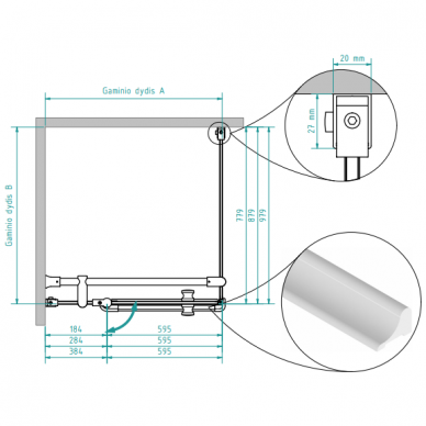 Dušo kabina Brasta Glass Karina 80, 90, 100 cm 6