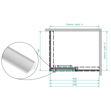 Dušo kabina Brasta Glass Milda soft 110, 120, 130 cm 6