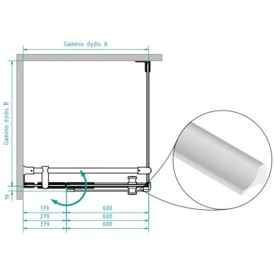 Dušo kabina Brasta Glass Nora Plius 80, 90, 100 cm 2