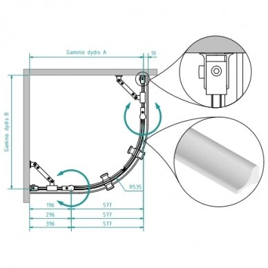 Dušo kabina Brasta Glass Sonata 80, 90, 100 cm 3