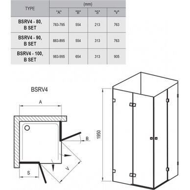 Dušo kabina Ravak Brilliant BSRV4 80, 90, 100 cm 8