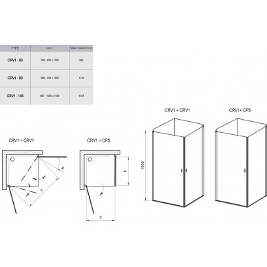 Dušo durys Ravak Chrome CRV1 80, 90, 100 cm 3