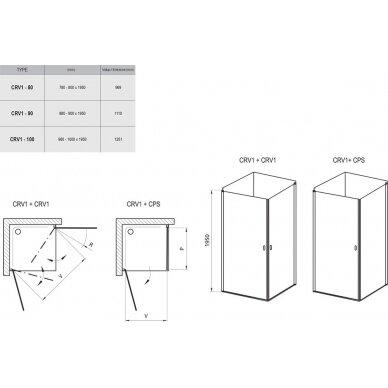 Dušo kabina Ravak Chrome CRV1 + CRV1 80, 90, 100 cm 2
