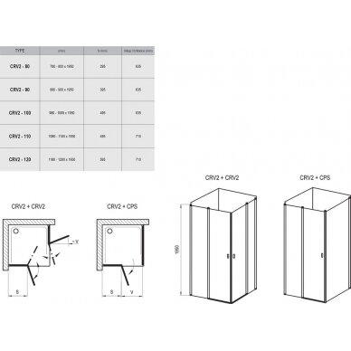Dušo durys Ravak Chrome CRV2 80, 90, 100, 110, 120 cm 4
