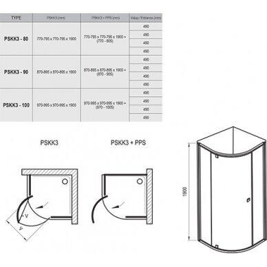 Dušo kabina Ravak Pivot PSKK3 80, 90, 100 cm 6