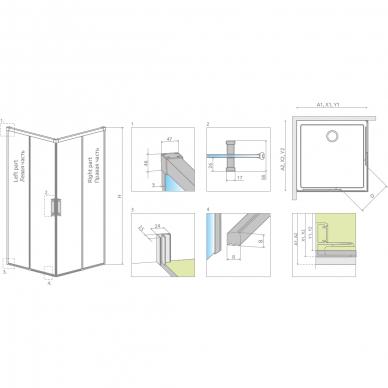 Dušo kabina Radaway Idea Kdd 80, 90, 100, 110, 120 cm 5